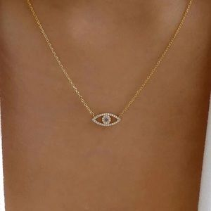 Gold Evil Eye Cubic Zirconia Chain Necklace